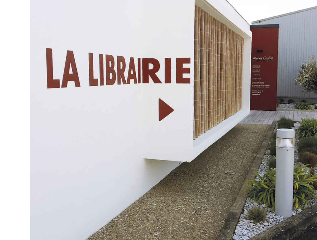 Signalétique extérieure Librairie Atelier Quillet