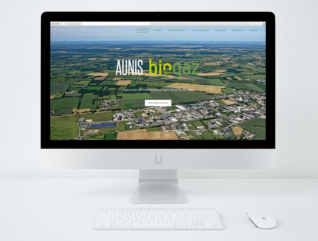 Logo et site internet unité de méthanisation Aunis Biogaz