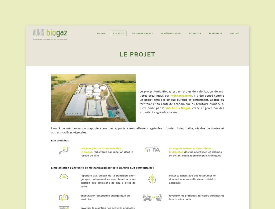 Site internet unité de méthanisation Aunis Biogaz