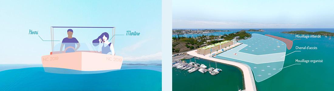 Illustration motiondesign Port à sec de Nouméa