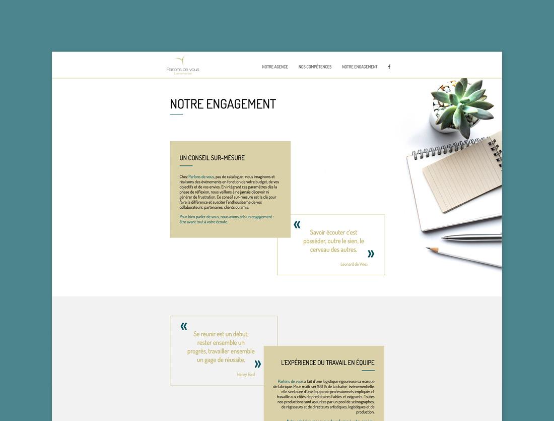 Site agence Parlons de Vous / page intérieure
