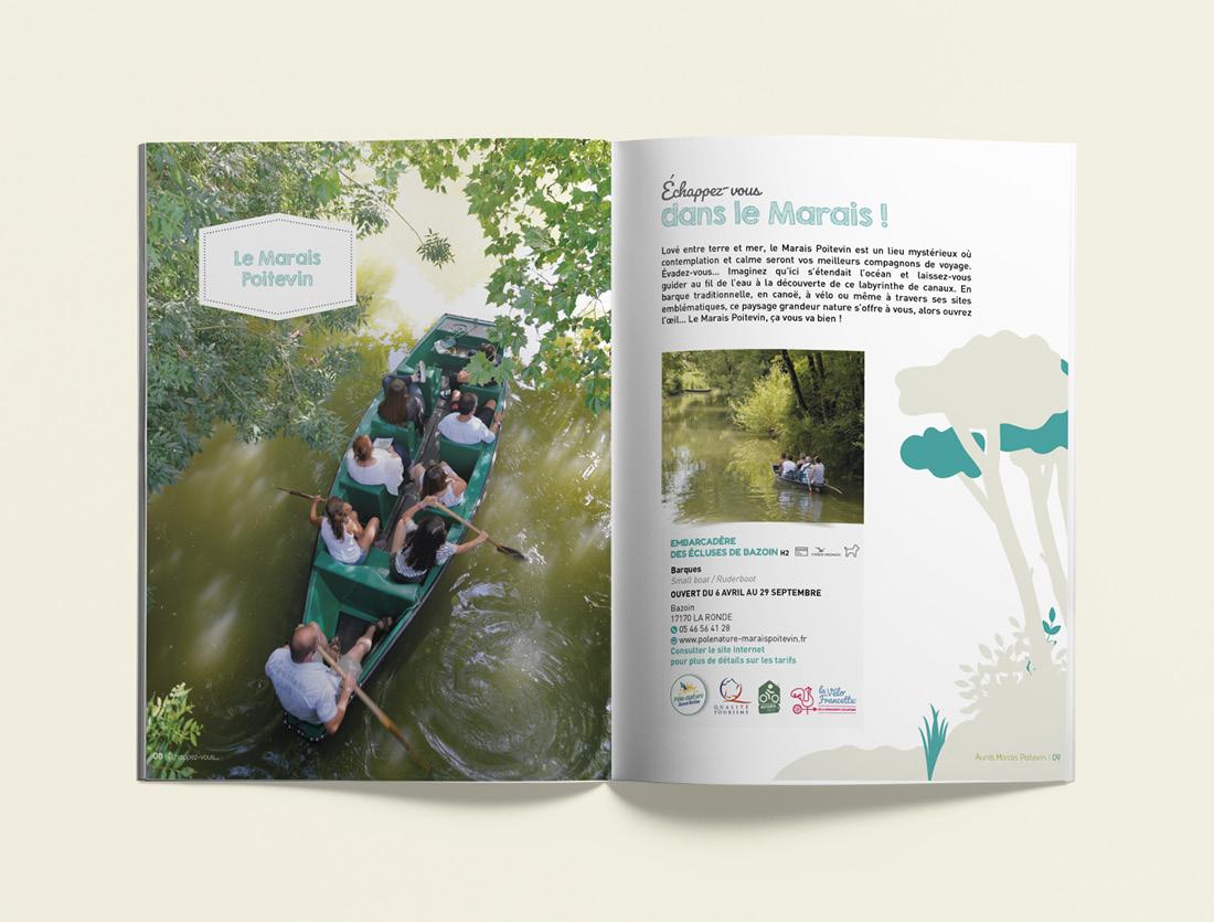 Brochure touristique Aunis Marais Poitevin mise en page
